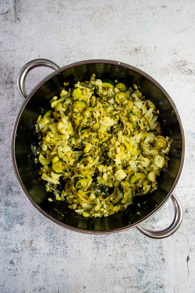 Gemüse gebraten in der Pfanne