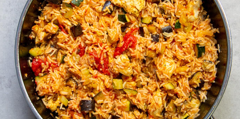 Reispfanne mit gegrilltem Gemüse